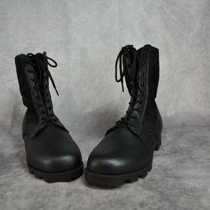 Black Leather Military Jungle Boots